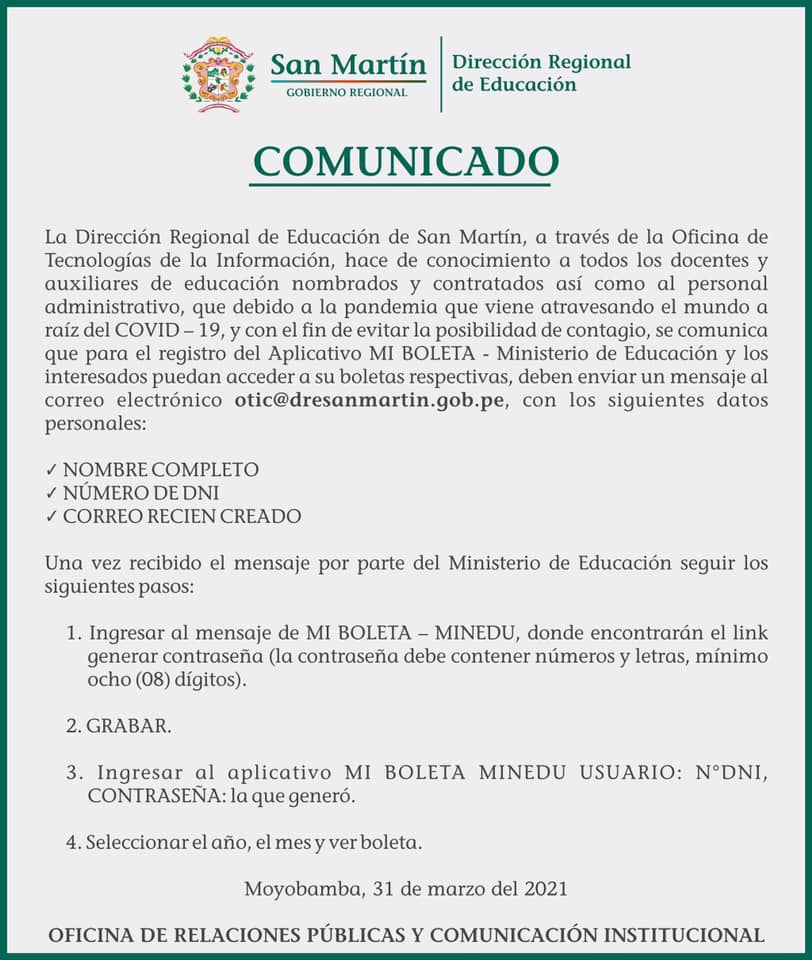 COMUNICADO - APLICATIVO MI BOLETA MINISTERIO DE EDUACION
