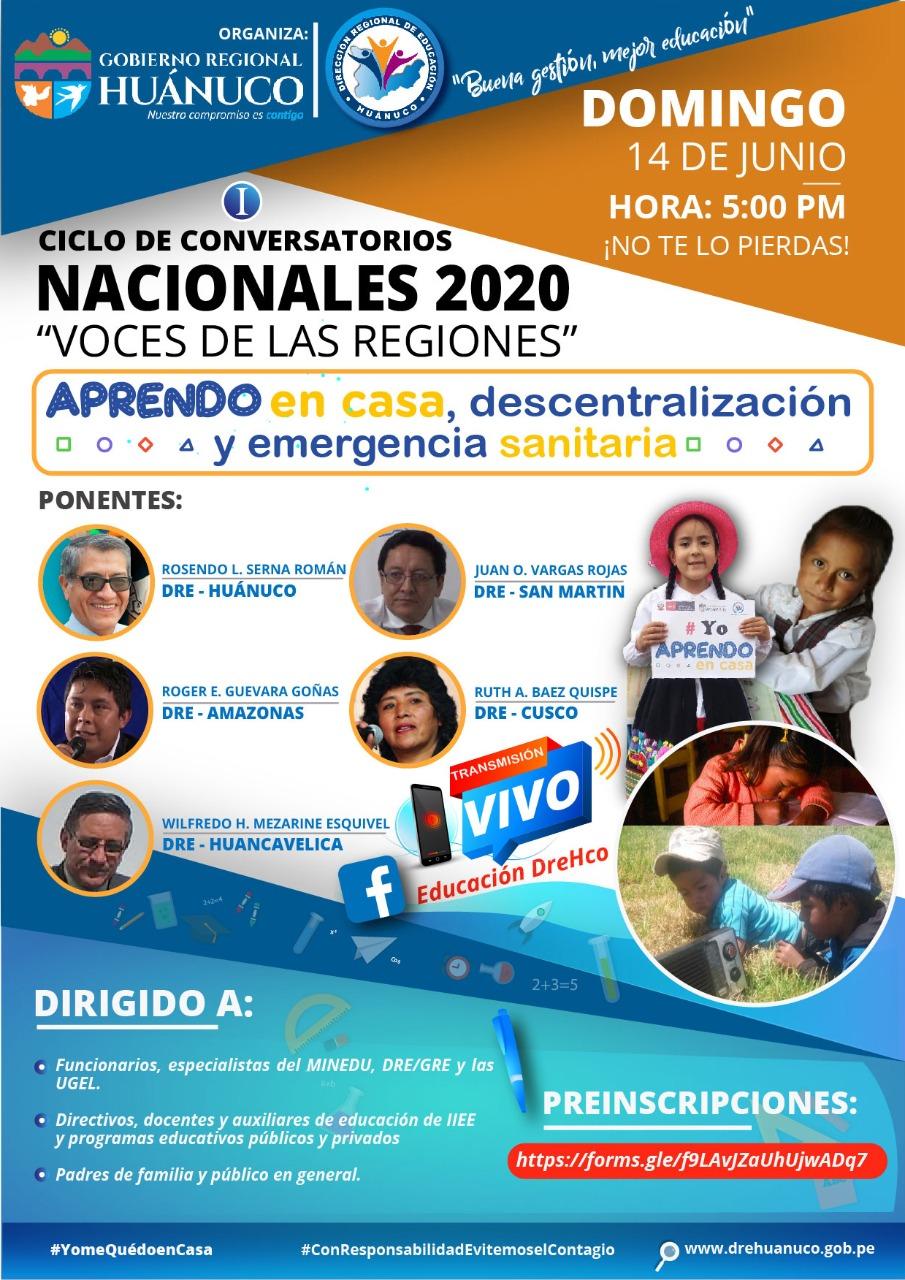 CICLO DE CONVERSATORIOS NACIONALES 2020