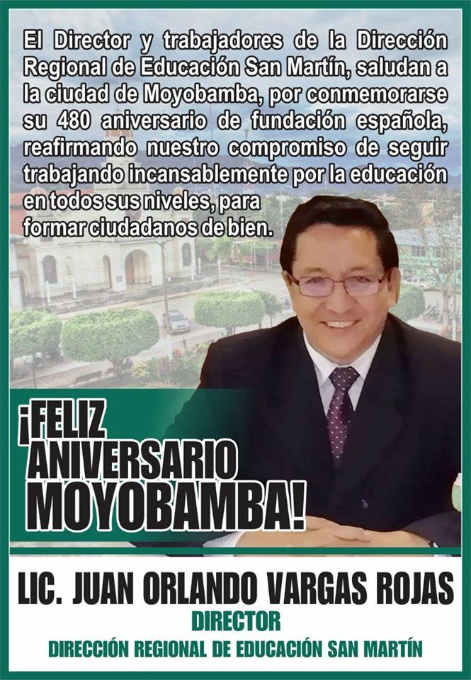 Hoy, 25 de julio, saludamos a la ciudad de Moyobamba, por conmemorarse su 480°. aniversario de fundación española. ¡Feliz aniversario!