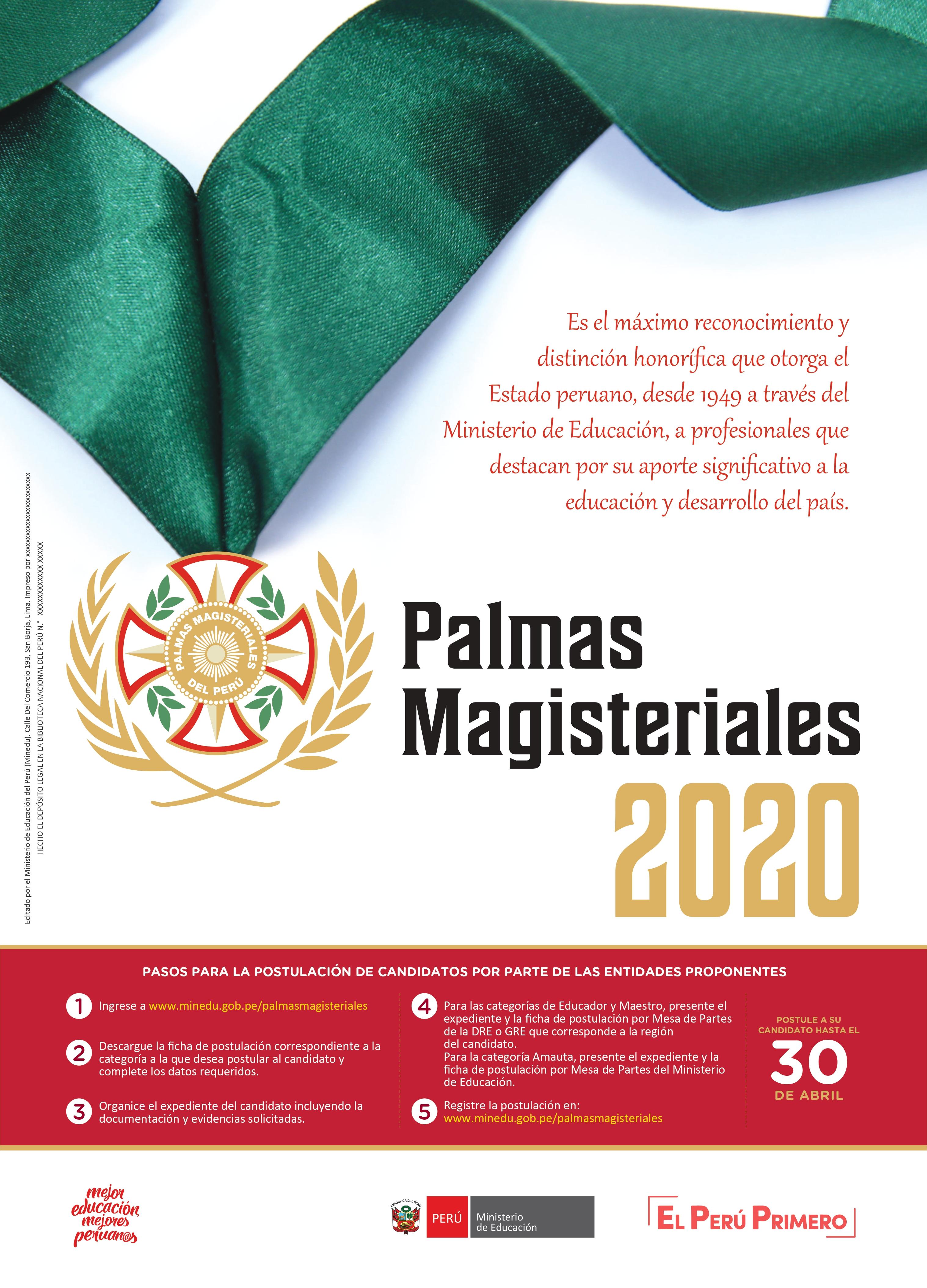 PALMAS MAGISTERIALES 2020